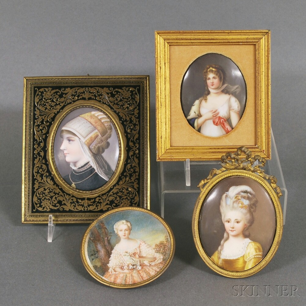 Four Framed Continental Portrait Miniatures of Ladies