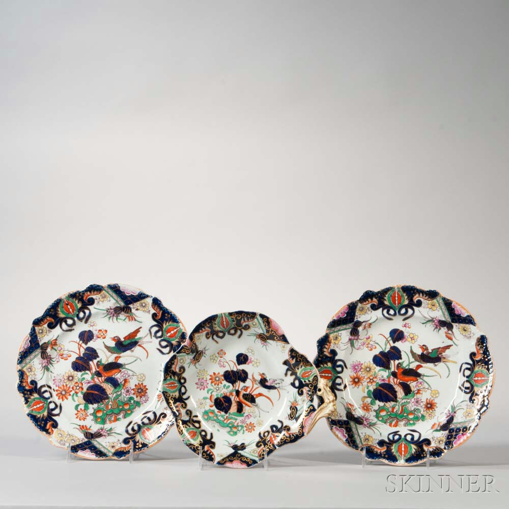 Twelve Ironstone Plates and Two Serving Trays