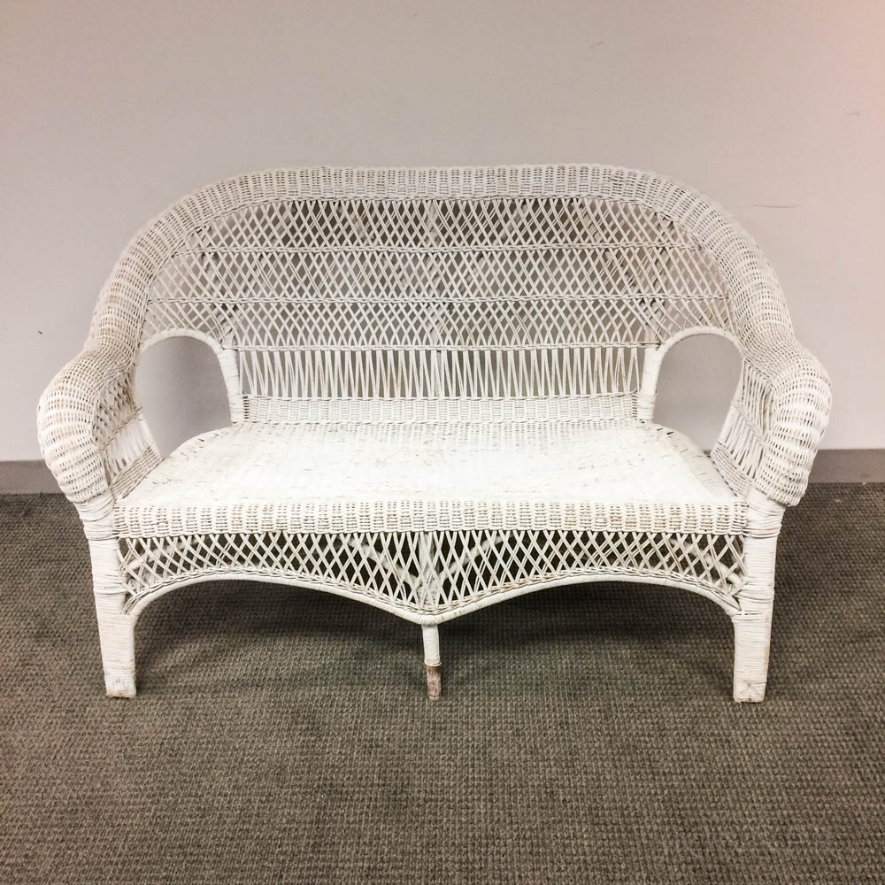 White-painted Wicker Settee
