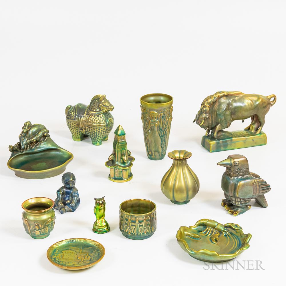 Thirteen Zsolnay Eosin-glazed Items