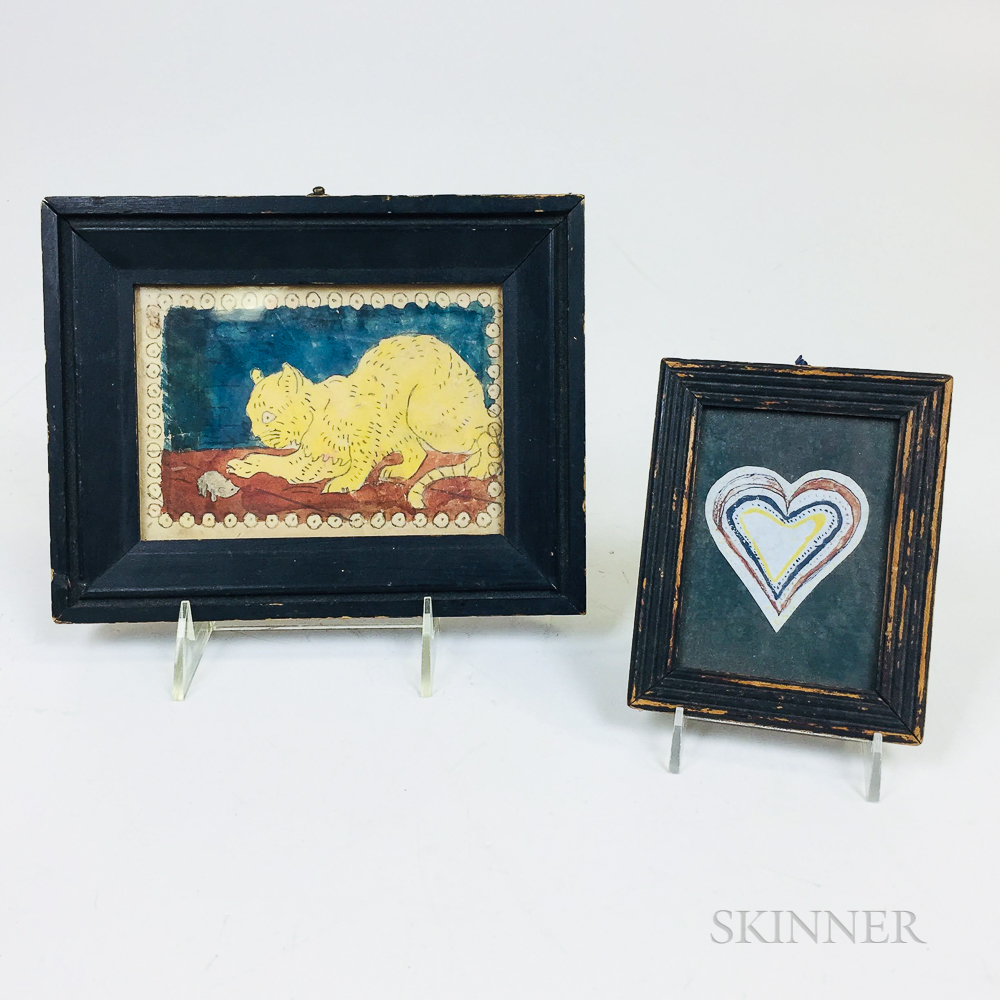 Two Small Framed Watercolor Pictures of a Cat and a Heart