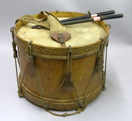 Paint Decorated Maple and Rope Drum with a Pair of Ebonized Drumsticks