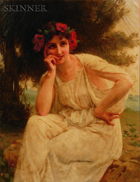 Guillaume Seignac (French, 1870-1924)    Woman with Red Floral Wreath