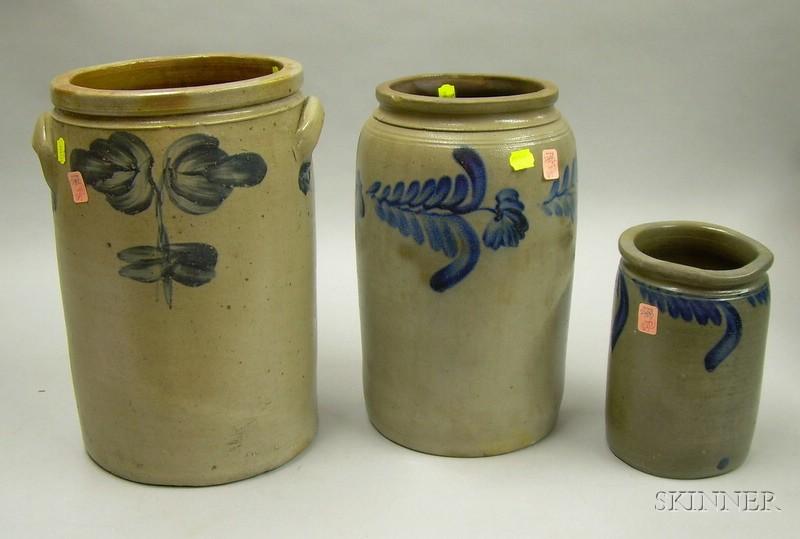 Three Cobalt Floral Decorated Stoneware Jars