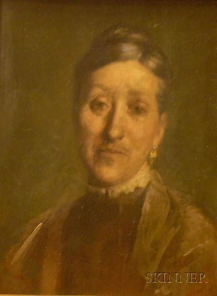 Framed Oil on Panel Portrait of Oscara Steffan by Frederick Trapp Friis   (American, 1865-1909)