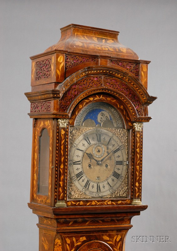 Walnut Veneered Marquetry Longcase Clock by William Jourdain