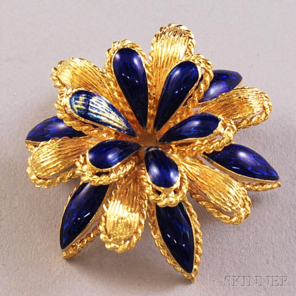 Italian 18kt Gold and Cobalt Blue Enamel Brooch