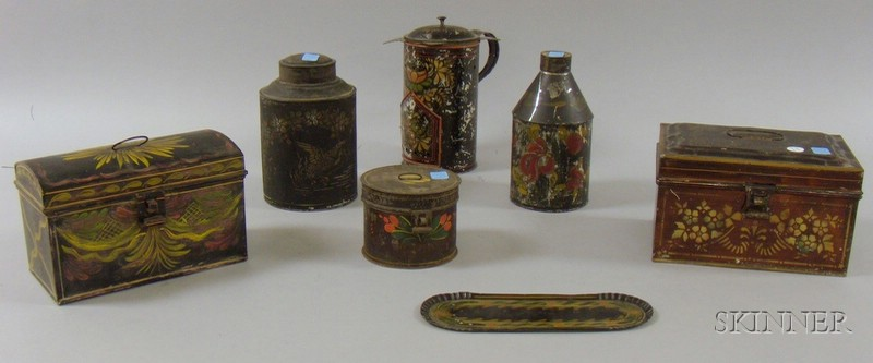 Seven Pieces of Polychrome Decorated Toleware