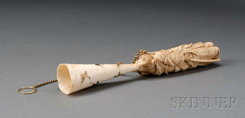 Japanese Export Meiji Period Carved and Inlaid Ivory Monkey-form Tussie-mussie