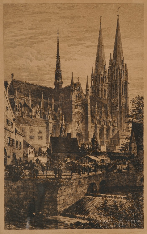 Axel Herman Haig (Swedish, 1835-1921)      Lot of Two Etchings: En Framtidsbild/Motiv Fran Upsala