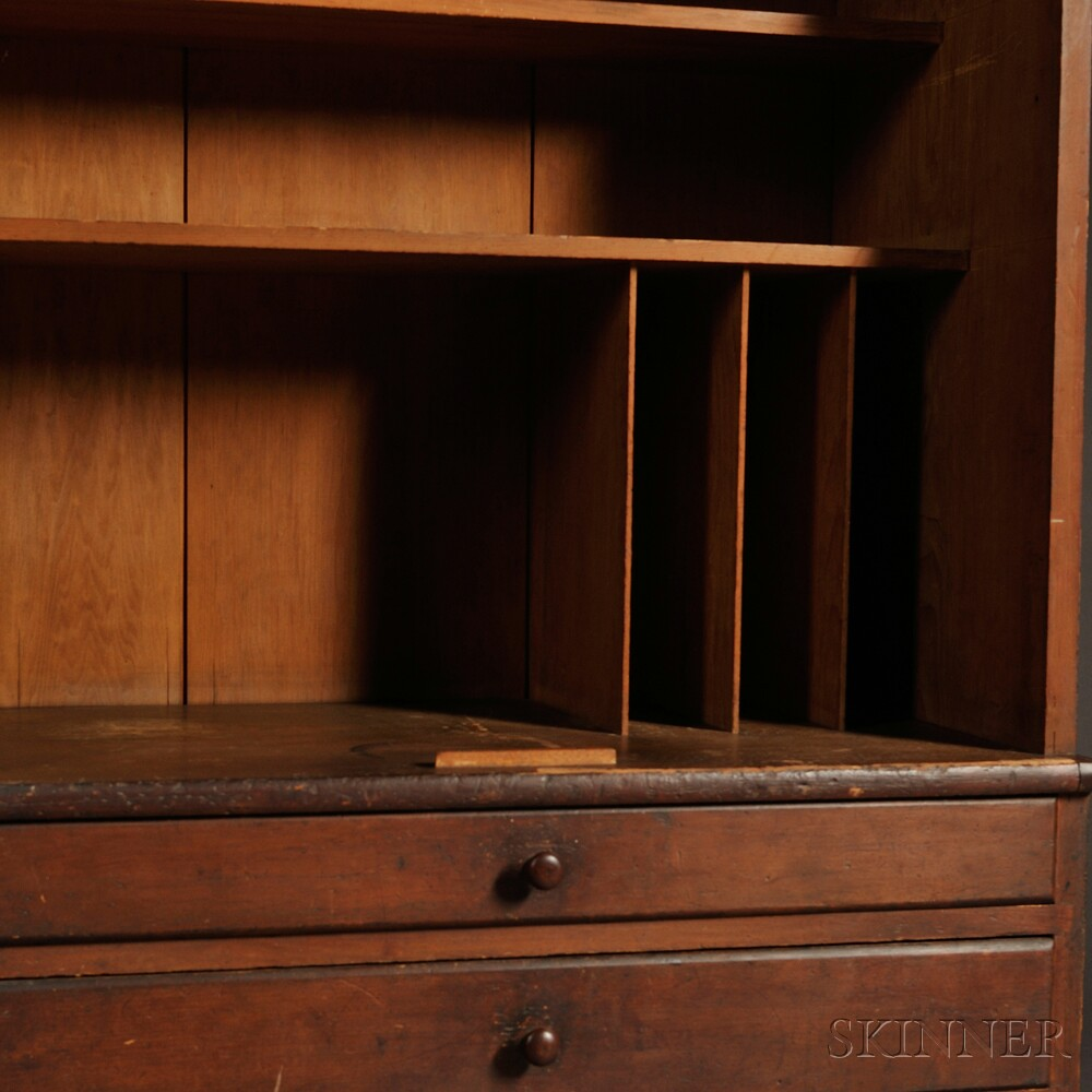 Shaker Pine Schoolhouse Cupboard and Case of Drawers