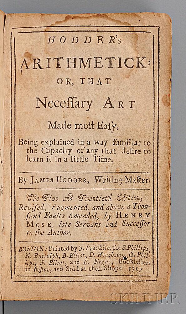 Hodder, James (active 1661) Hodder's Arithmetick.