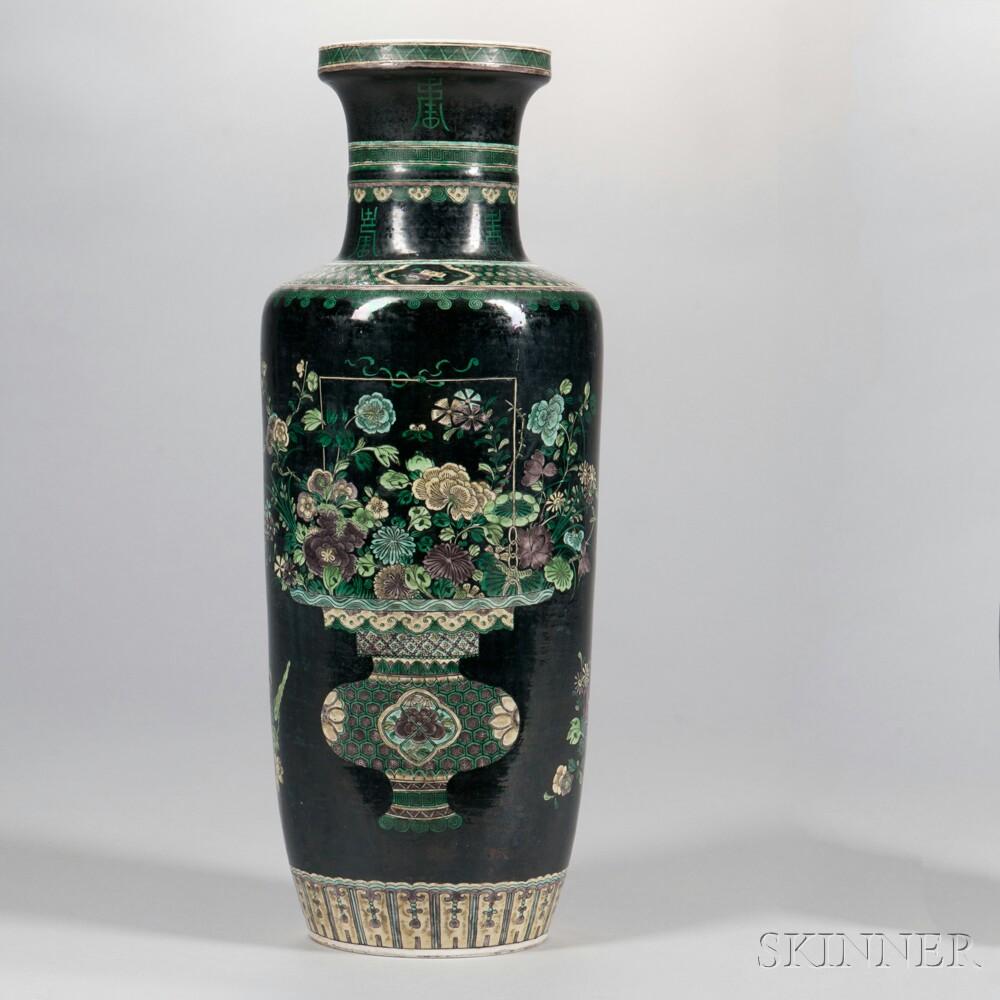 Famille Noire Rouleau Lamp Vase