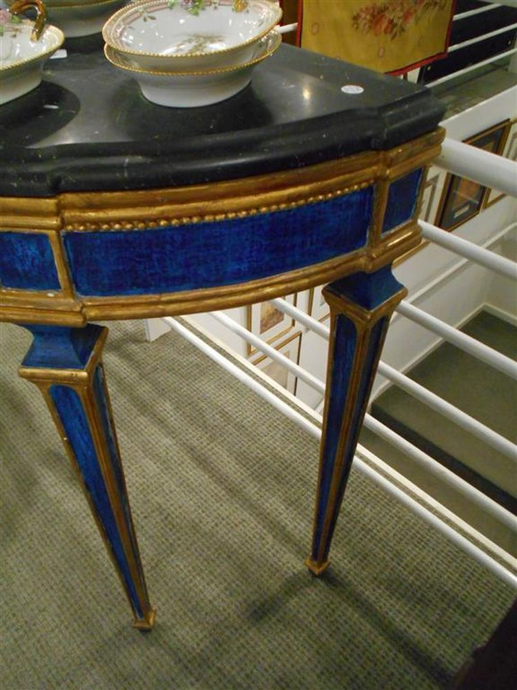 Pair Of Italian Neoclassical Style Painted And Marble Top