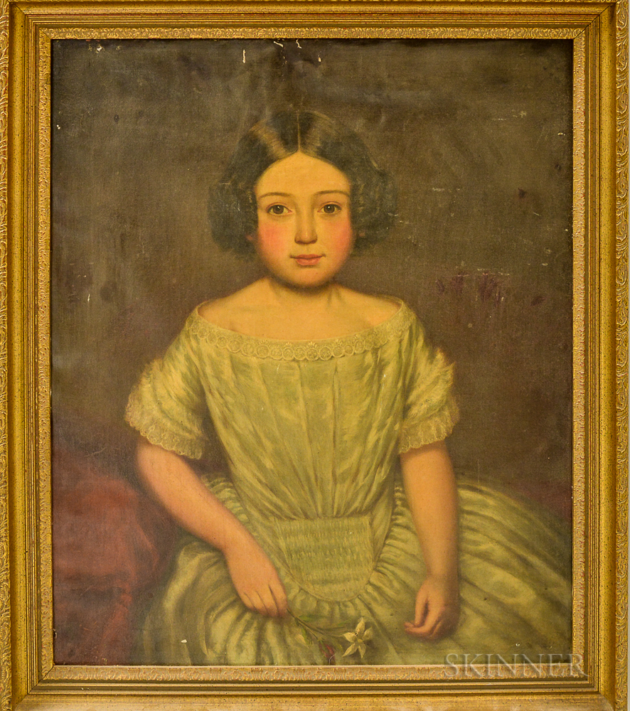 American School, 19th Century    Young Girl with a Flower