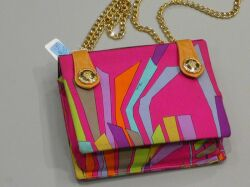 Emilio Pucci Tan Leather and Silk Purse with Gold Chain and Buttons.