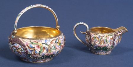 Russian Gold-washed Silver Enamel Creamer and Sugar