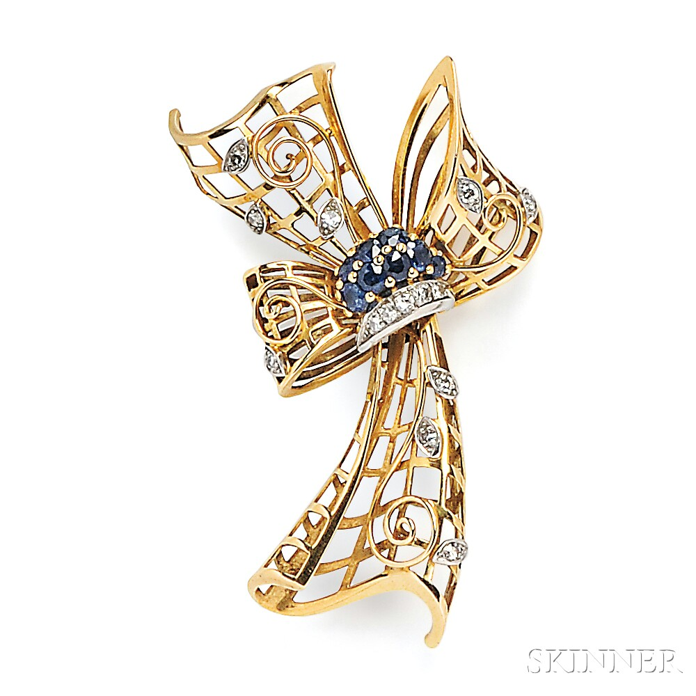 18kt Gold, Sapphire, and Diamond Bow Brooch