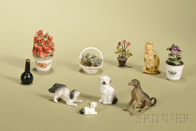 Group of Nine Miniature Animals and Potted Flowers