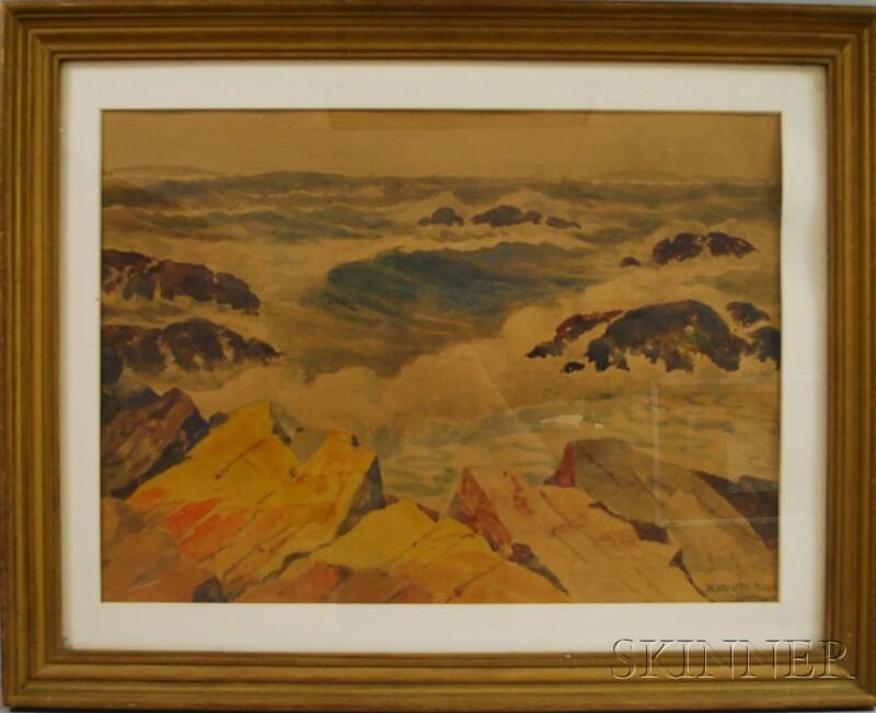 Henry Orne Rider (American, 1860-1943)      Crashing Waves.