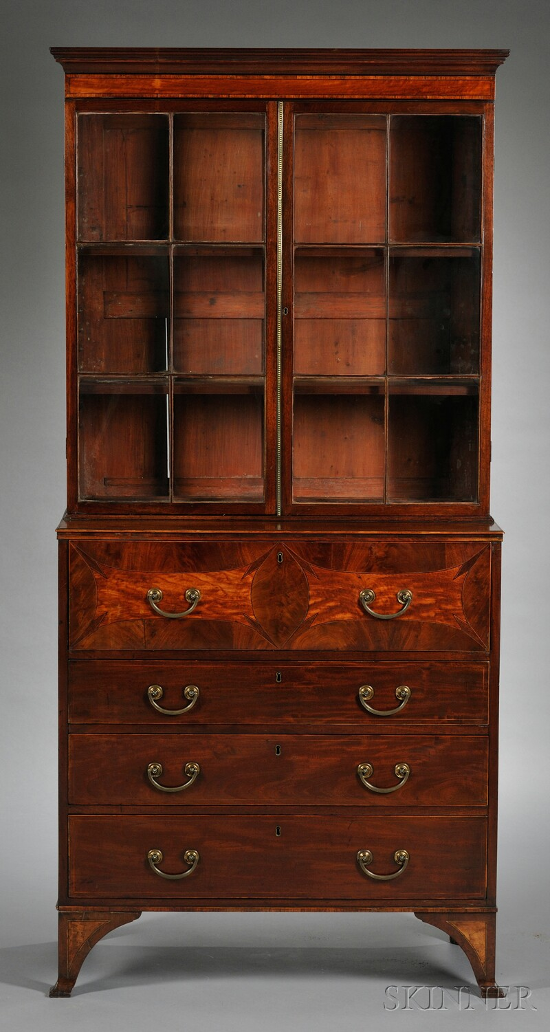 george iii mahogany and satinwood inlaid bureau bookcase sale number 2566b lot number 716. Black Bedroom Furniture Sets. Home Design Ideas