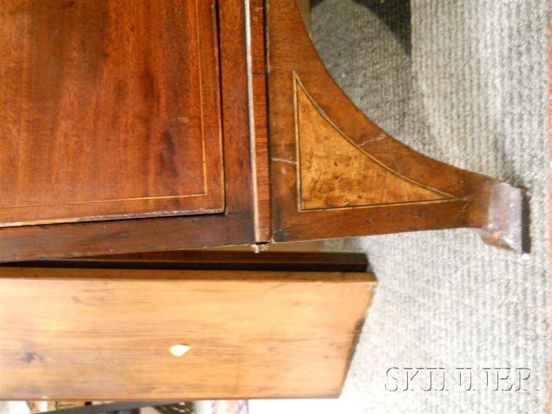 George III Mahogany and Satinwood-inlaid Bureau Bookcase