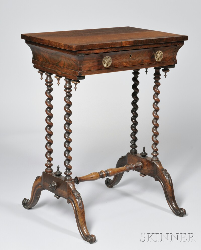 English Victorian Carved and Turned Rosewood One-drawer Stand with Stretcher Base