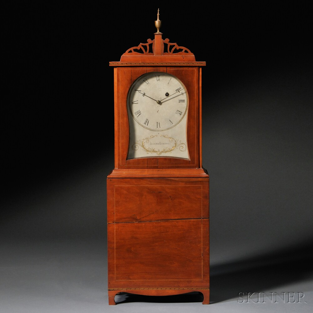 Federal Cherry Inlaid Shelf Clock