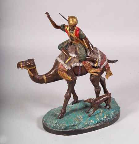 Large Cold Painted Bronze Figure of a Camel Rider