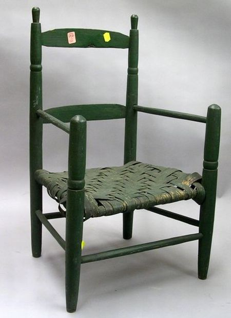 Green Painted Childs Slat-back Armchair.