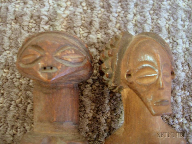Two African Carved Wood Female Figures