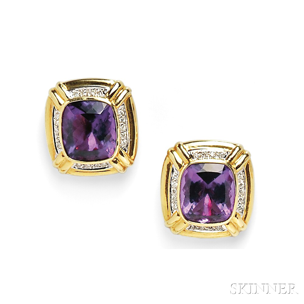 18kt Gold, Amethyst, and Diamond Earclips