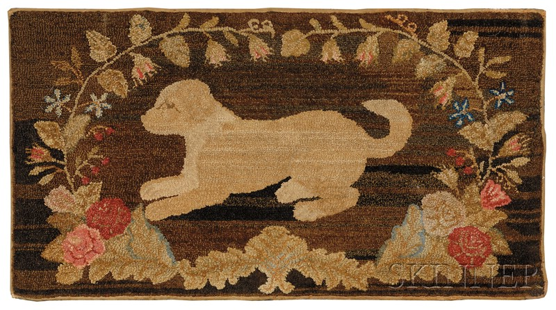Wool Hooked Rug with Playful Dog Motif