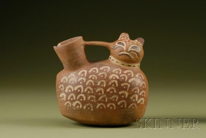 Pre-Columbian Painted Feline Vessel