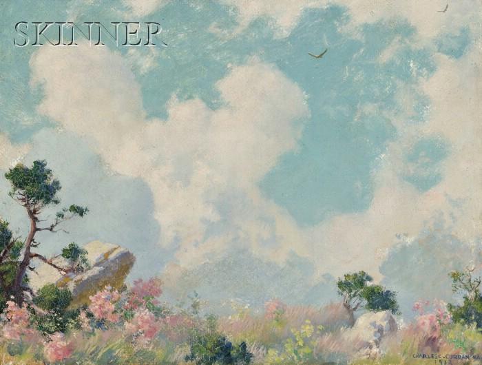 Charles Courtney Curran  (American, 1861-1942)      Wild Azalias [sic] on the Mountain Top
