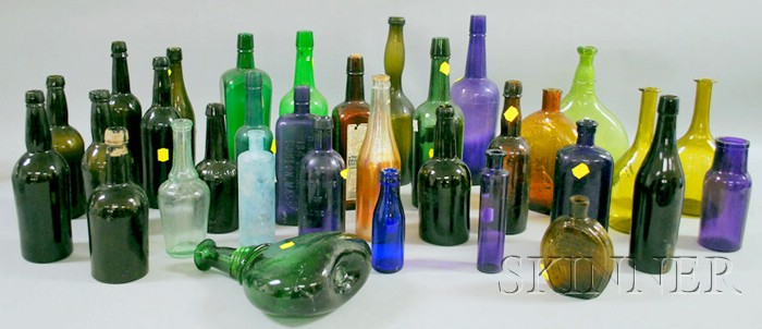 Thirty-three Assorted Colored Glass Bottles