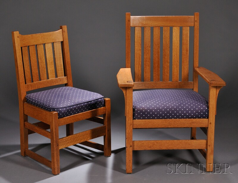 Arts & Crafts Armchair and Side Chair