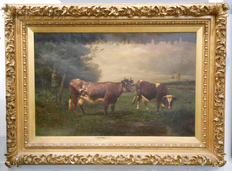 Scott (Nicholas Winfield) Leighton (American, 1849-1898)      Pastoral Landscape with Grazing Cows.