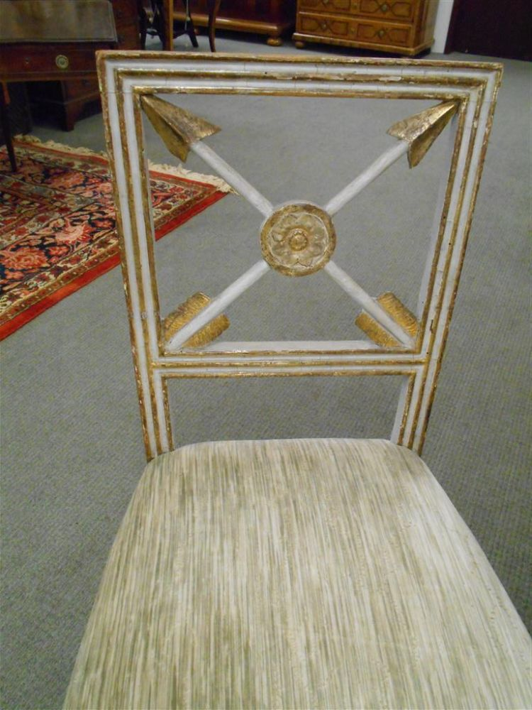 Pair of Directoire Painted and Parcel-giltwood Side Chairs