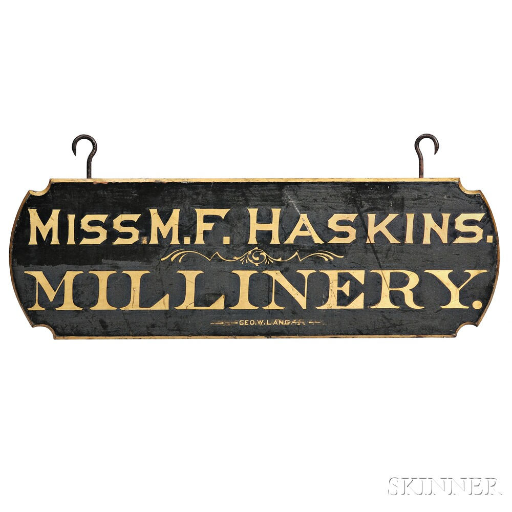 "Black-painted and Gilt-lettered ""MISS M.F. HASKINS MILLINERY"" Trade Sign"