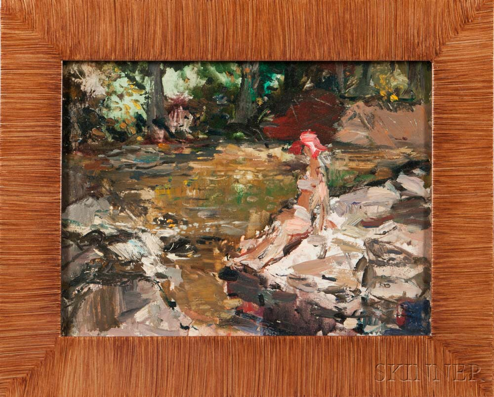 Vladimir Lebedev (Russian/American, 1910-1989)    Girl at a Swimming Hole