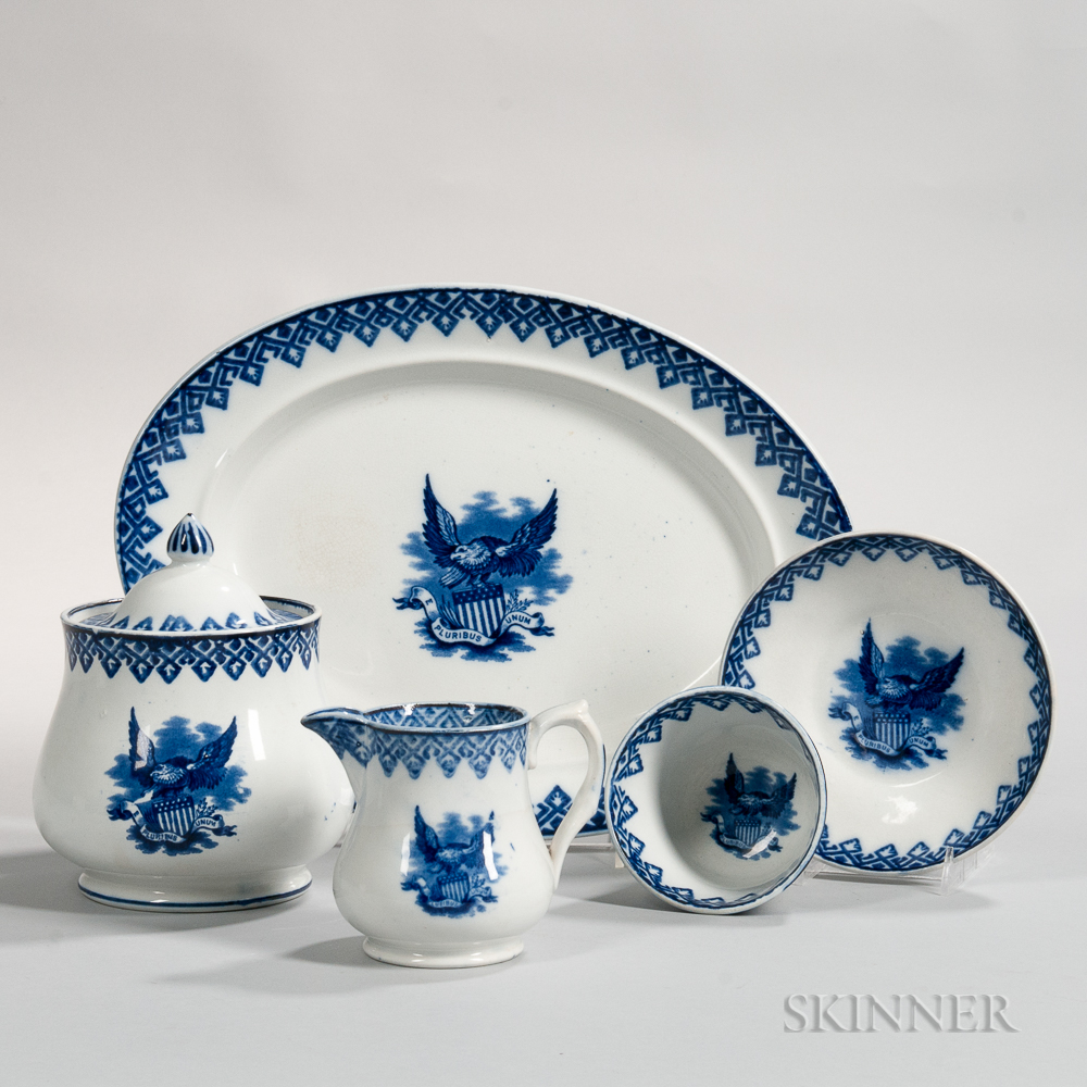 Four Transfer-decorated American Eagle Table Items