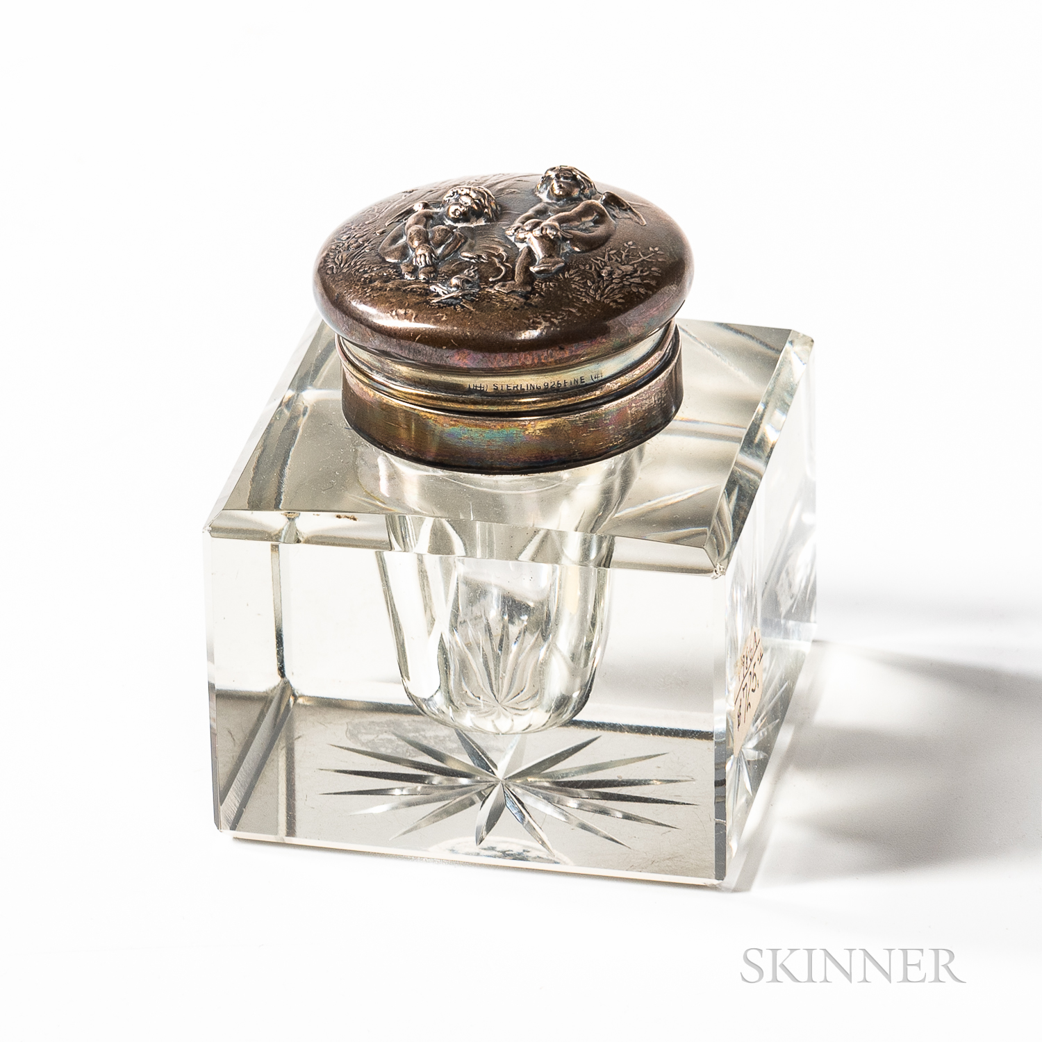 Sterling Silver-mounted Glass Inkwell