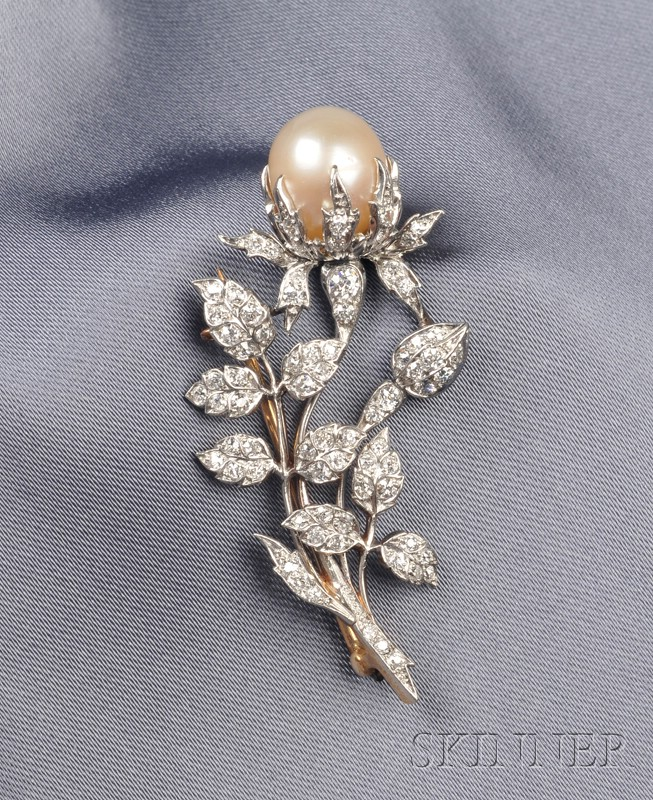 Edwardian Pearl and Diamond Brooch, Kirkpatrick & Co.