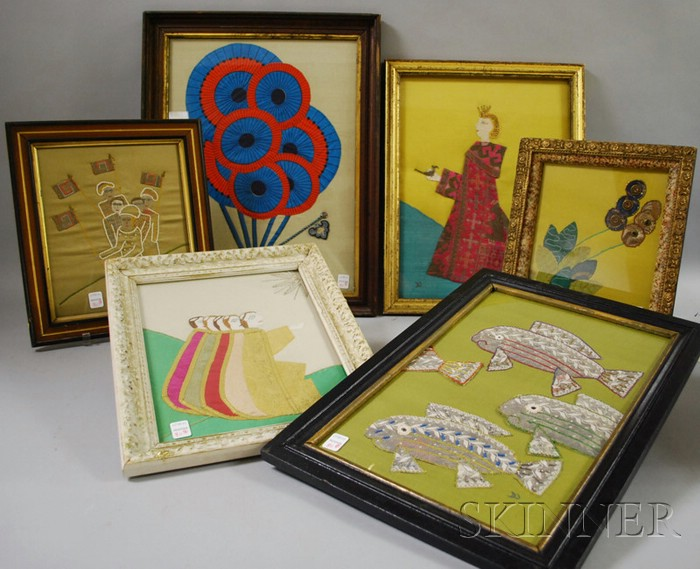 Doris Wolfers (Maine, Mid-20th Century)      Eight Framed Fabric Collage Pictures.