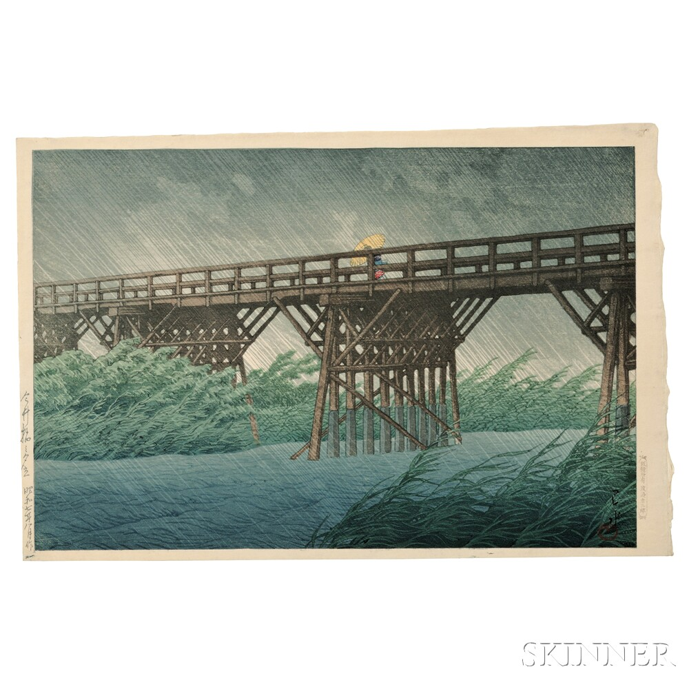 Kawase Hasui (1883-1957), Sudden Shower at Imari Bridge