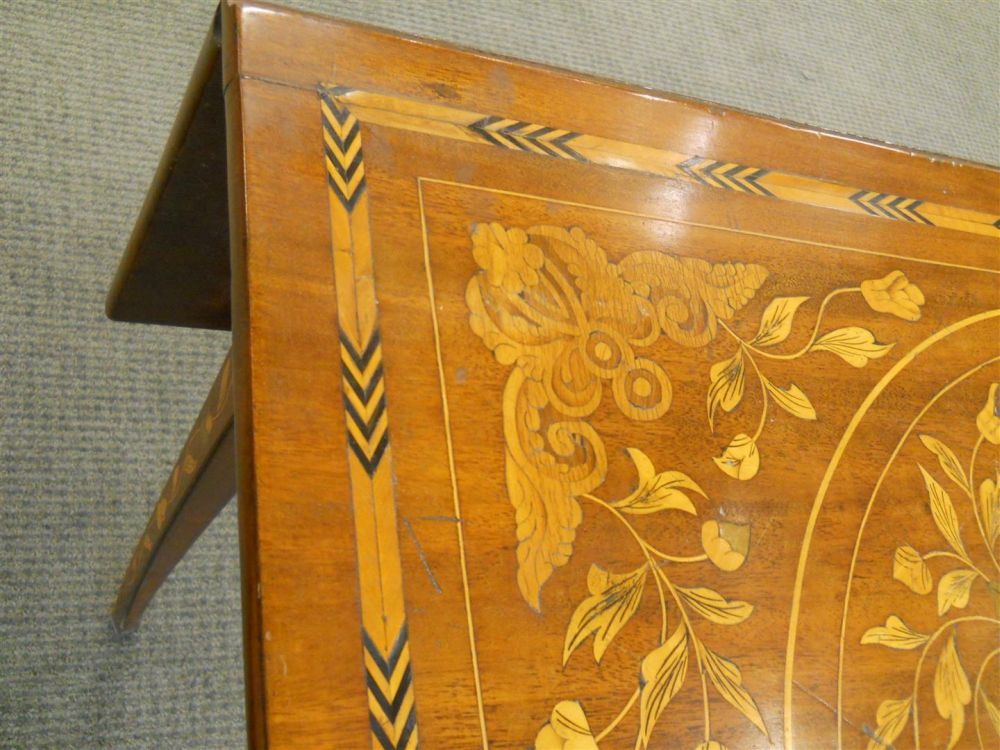 Dutch Marquetry Walnut Drop-leaf Table