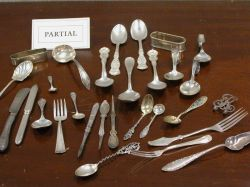 Large Lot of Miscellaneous Sterling and Silver Plated Flatware and Table Items.