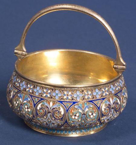 Russian Gold-washed Silver Enamel Sugar Bowl