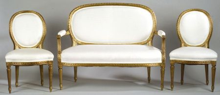 Three Piece Suite of Louis XVI Style Giltwood Seating Furniture